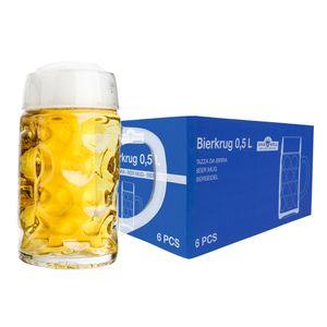 6er Set Maßkrug 0,5L geeicht Halber Liter Bierkrug Bierglas perfekt geeignet für Gastronomie