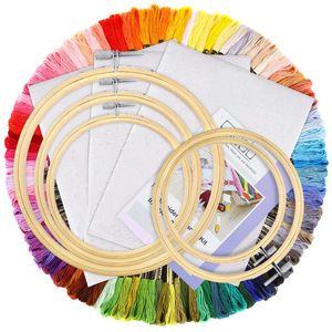 BISHOP 154-teiliges Stickset mit Anleitung, 100 Farbfäden, 5-teilige Bambus-Stickrahmen, Kreuzstich-Werkzeuge für Erwachsene und Anfänger für Kinder