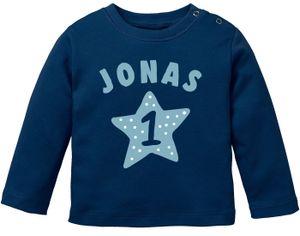 Baby Langarmshirt mit Name und Zahl 1 zum ersten Geburtstag Motiv Stern Geburtstagsshirt Junge/Mädchen SpecialMe® Jungen blau 92/98 (16-24-Monate)
