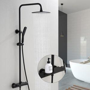 Duschsystem mit Thermostat Dusche inkl. Regal Duscharmatur Schwarz Edelstahl Regendusche Duschset verstellbarer Duschstange Duschset