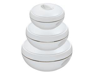 3/6tlg. KING® Thermobehälterset Venus deluxe / Farbe: Weiß mit Goldrand / mit 3 Behältern 475ml, 700ml &1000ml