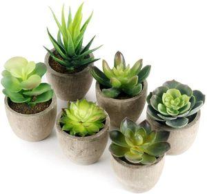 Kunstpflanze Künstliche Sukkulenten Pflanze 6 Stücke mit Grauem Topf,  Mini Kunststoff Fälschung Grünes Pflanzen, Deko Wohnzimmer Balkon Schlafzimmer Badezimmer Zimmer Tischdeko