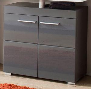 Waschbeckenunterschrank Hochglanz grau Badschrank 60 cm Amanda - Trendteam 139330121