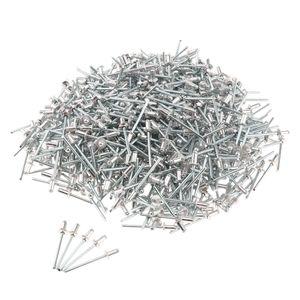 500-tlg Nieten Blindnieten Sortiment Flachrundkopf Popnieten, 7mm-12mm, aus Aluminum Größe 4,0 x 6 mm