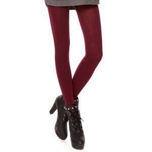 Damen Fleece Gefütterte Leggings Dicken Winter Warme Strumpfhose Rot Footless Einheitsgröße Hose Solide Rot ohne Fuß