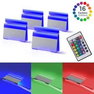 LED Glasbodenbeleuchtung 4er Set Clips Vitrinenbeleuchtung Schrankbeleuchtung inkl. Fernbedienung RGB Funktion farbwechsel B.K.Licht