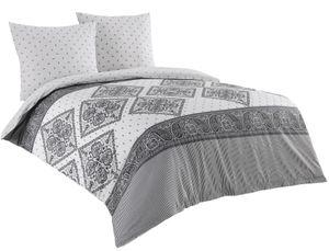 3 tlg Baumwolle Renforce Bettwäsche 200x220 grau weiß Streifen Wendebettwäsche