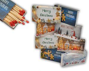 jameitop®8 x 50er Packungen XL Streichholzschachteln, 10cm mit Weihnachten/Christmas Design Streichhölzer Zündhölzer