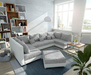 Couch Panama Hellgrau Weiss mit Hocker Wohnlandschaft modular