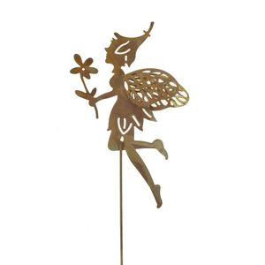 Stecker Elfe Fee schwebend L31,5cm Metall Garten Deko Stab Elfenstecker, Farbe:rost