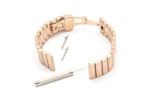 vhbw Ersatz Armband kompatibel mit Fossil Q Founder 2,0 Fitnessuhr, Smartwatch - 17,5 cm Edelstahl roségold
