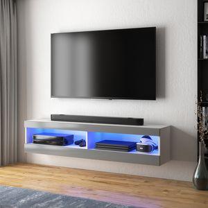Selsey – TV-Lowboard VIANSOLA hängend/stehend in Weiß matt/Grau Hochglanz mit LED-Beleuchtung, 100 cm