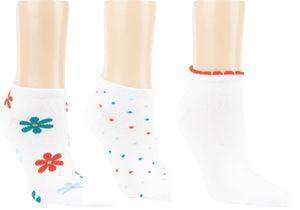 6 Paar Bambus Sneaker Socken Design Blumen Punkte für Damen Gr. 39-42