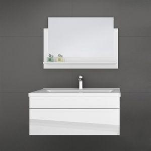 HOME DELUXE - Badmöbel WANGEROOGE BIG M Weiß (HB) Badezimmermöbel Waschbecken Unterschrank Spiegel
