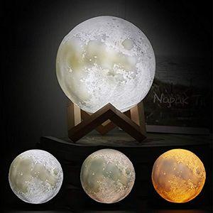Nachtlicht 5,9 Zoll 3D-Druck Luna Moon Lampe Dimmbarer Berührungssensor Helligkeit Kindergarten LED-Lampen Beste Weihnachtsgeschenke für Kinder Jugendliche