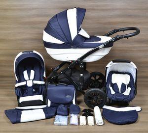 LUXUS Kombi Kinderwagen ALU FLORENZ 3in1 Babyschale Autositz Babywanne Sportsitz  (1,Hartgummiräder R1 schwarz,schwarz)