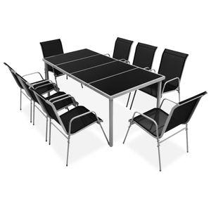 Gartenmöbel Essgruppe 8 Personen ,9-TLG. Terrassenmöbel Balkonset Sitzgruppe: Tisch mit 8 Stühle Stahl Schwarz❀1881