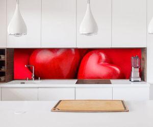 Aufkleber Küchenrückwand   Herz Herzen zwei rot Liebe love Schlafzimmer Paar Kitchen   Küche Folie Fliesen Möbelfolie Spritzschutz 22А1362, Höhe x Länge:60cm x 100cm