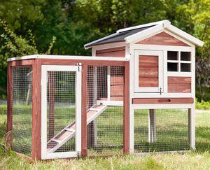 Merax Hasenstall Kaninchenstall Hasenkäfig Käfighaus Meerschweinchen Hutch Verstecken / Laufen mit Linoleumdach 2-Tier, Rot