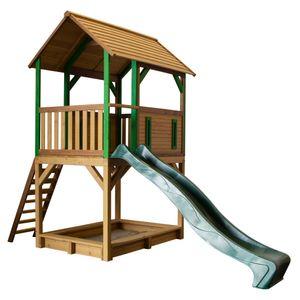 AXI Spielhaus Pumba mit Sandkasten & grüner Rutsche | Stelzenhaus in Braun & Grün ausHolz für Kinder | Spielturm mit Wellenrutsche für den Garten