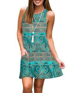 Damen Böhmen Blumen Ärmelloses Midikleid Taschen Casual Sommer Strand Sommerkleid,Farbe: 2 #Grün,Größe:XL