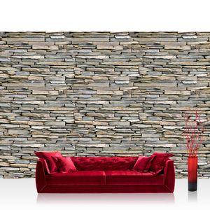 Vlies Fototapete no. 1057 - 400X280 cm - 1057 Steinwand Tapete Steinmauer Steinoptik Steine Stein Steintapete Wandverblender grau liwwing (R)