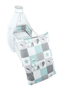 roba Kinder-Bettgarnitur 4-tlg, Babybett-Ausstattung 'Happy Patch grau'