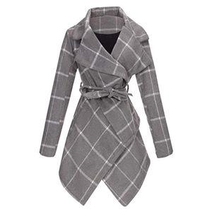 Damen Turn Down Kragenmantel Wollmischmantel mit Gürtel Asymmetrischer Saumwickelmantel Größe:XXXL,Farbe:Grau