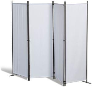 Grasekamp Paravent 4 teilig Weiß Raumteiler  Trennwand Sichtschutz Balkontrennung