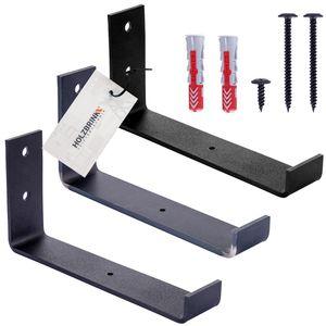 HOLZBRINK Metall Regalträger Regalhalter für Wandregal, Wandhalterung schwarz 250mm, 4 Stück, HLR-J-250-9005