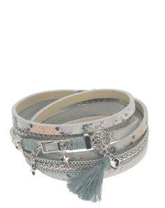 Wickelarmband aus Leder mit Magnetverschluss mit Strass-Anhänger Quaste Herz Stern 1,5x39cm Farbe - silbergrau