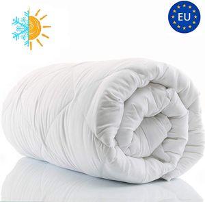 200 x 220 cm Ganzjahresdecke Bettdecke allergiker Steppdecke Weiß hypoallergen aus Microfaser King size Steppbett xxl