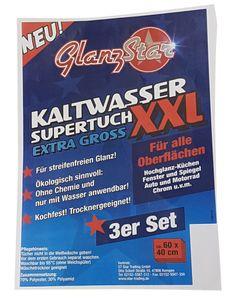 GLANZSTAR Kaltwasser Supertuch XXL Kochfest 3er Set, Fenster + Glastuch 60x40cm