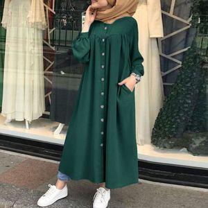Frauen Vintage Hemd Kaftan Button Down Taschenstaender Kragen Plissee Laterne aermel Casual Loose Plus Size Kleid gruen-3XL