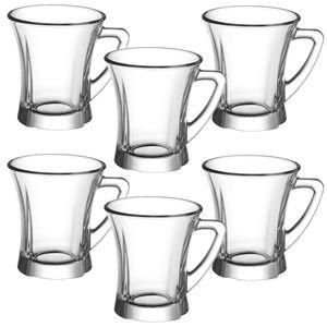 LAV Truva 100 ml Gläser mit Henkel 6er Set TPL425 Tee- Espressogläser Henkelglas