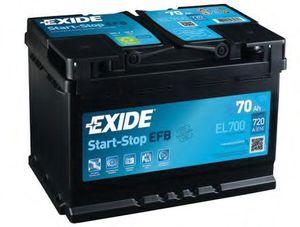 Autobatterie EXIDE 12 V 70 Ah 720 A/EN EL700 L 278mm B 175mm H 190mm NEU
