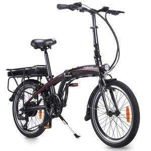 FAFREES 20'' Elektrisches Fahrrad Electric Bike Klappbar E-Bike Faltrad Citybike Elektrofahrrad mit LED Leucht Scheinwerfer 250W 36V 25KM/H, Schwarz