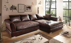 BIG Sofa -  L Form - Vintage Dunkelbraun - Rechts - Modell MAXIMUS