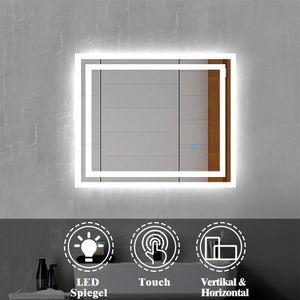 LED Badspiegel 60x50 cm Badezimmerspiegel mit Beleuchtung Lichtspiegel Wandspiegel mit Touch-schalter IP44 Kaltweiß