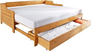Tagesbettenim Landhaus-Stil, Im ausgeklappten Zustand belastbar bis 2x 80 kg ,ohne Bettkasten(honig/natur)