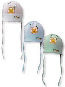 Winnie Pooh Baby Mütze Kinder Baby Jungen Erstlingsmütze, Farbe:Weiß, Größe:48