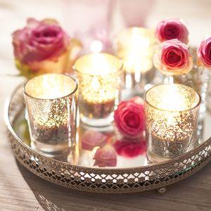 Teelichthalter auf Tablett, 6-tlg. -mit Spiegelglas Kerzentablett Teelichtgläser