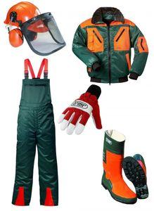 SET 1 - Schnittschutzhose + Forstjacke + Forsthelm + Forststiefel + Handschuhe