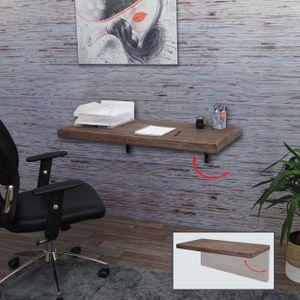Wandtisch HWC-H48, Wandklapptisch Wandregal Tisch, klappbar Massiv-Holz  100x50cm shabby braun