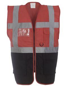 Herren Multi-Functional Executive Waistcoat - Farbe: Red/Black - Größe: XXL