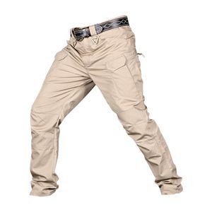 Männer Streetwear Casual Hip Hop Jogger Hosen Wandern Hosen, Reißverschluss und Multi Khaki_L