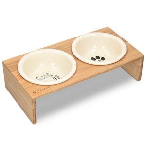 2x Futternapf Katze Keramik mit Bambus Halter