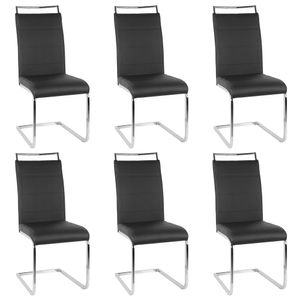 6er Set Esszimmerstühle Stühle  Freischwinger Stühle Bow Esstischstuhl Küchenstuhl Barstuhl - hohe Rückenlehne,Schwarz