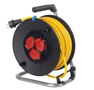 as - Schwabe 10137 Sicherheits Kabeltrommel, 40m, K35 AT-N07V3V3-F 3G1,5, IP44 Aussenbereich, Verlängerungskabel, gelb
