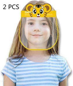 Kinder Gesichtsschutz, 2 Stück Wiederverwendbares Schutzvisier Gesichtsschild, süßes Mundschutz mit Anti Beschlag Transparent (Cartoon-Tiger)